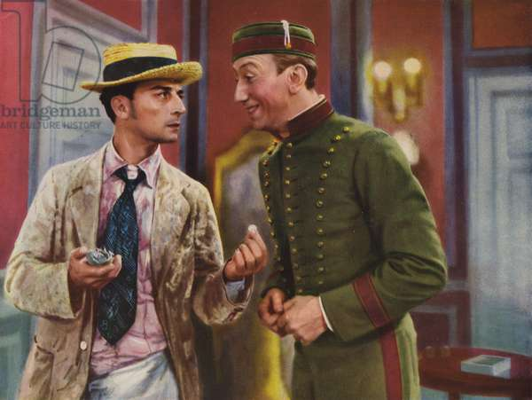Buster Keaton and George Davis in Edward Brophy's comedy film Casanova wider Willen, 1931 (coloured photo)
