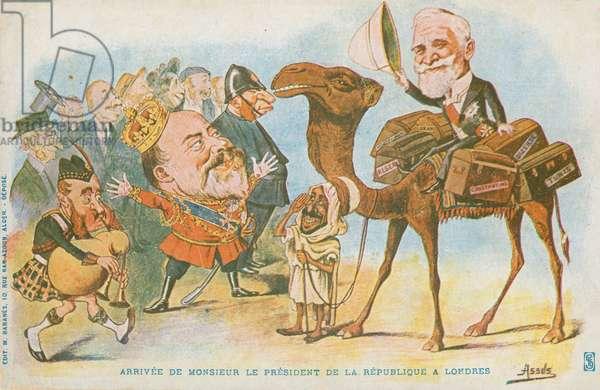 Edward VII, French President, Emile Loubet (colour litho)