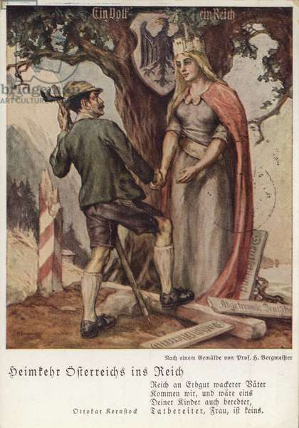 The homecoming of Austria into the Reich, the Anschluss of Nazi Germany and Austria, propaganda postcard, 1938 (colour litho)