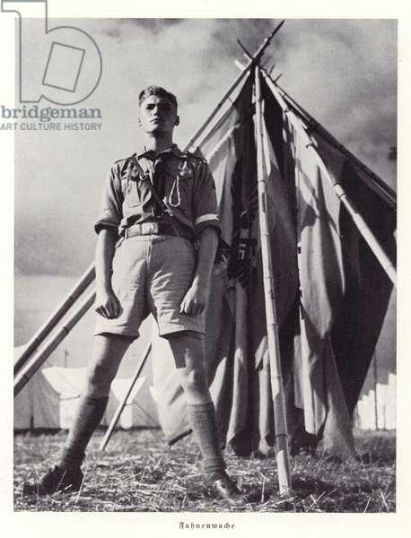 Guarding the flags, Nuremberg Rally, 1936 (b/w photo)