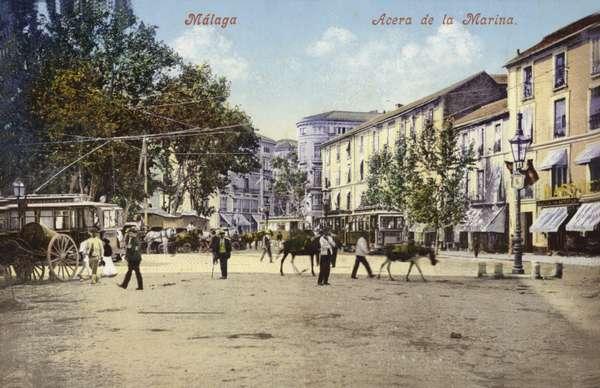 Acera de la Marina, Malaga, Spain (coloured photo)
