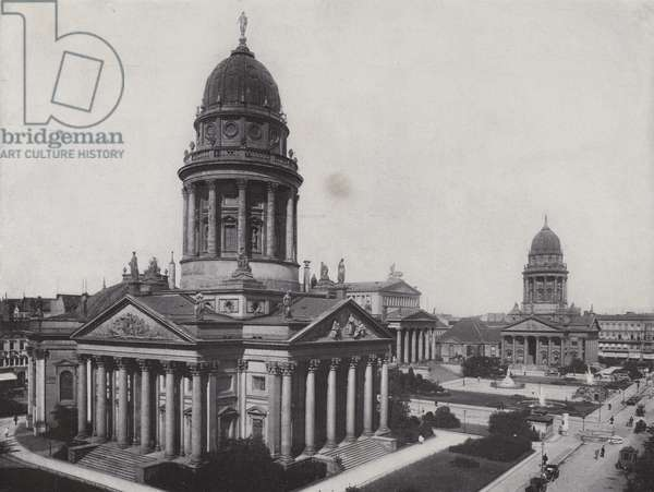 Gensdarmen-Markt with Deutscher Dom and Franzosischer Dom, 1904 (b/w photo)