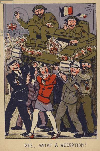 Soldiers in tank being carried by people in celebration (colour litho)