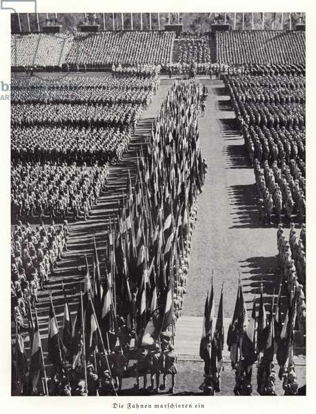 The flags march in, Nuremberg Rally, 1936 (b/w photo)