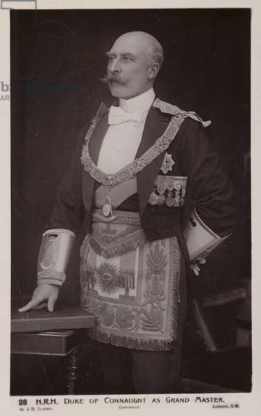 The Duke of Connaught as Grand Master of the masonic United Grand Lodge of England (b/w photo)