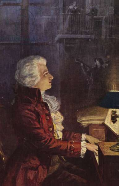 Portrait of Wolfgang Amadeus Mozart (colour litho)
