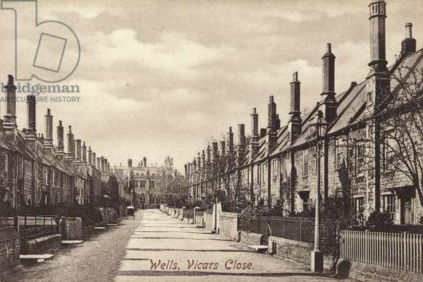 Wells, Vicars Close (b/w photo)