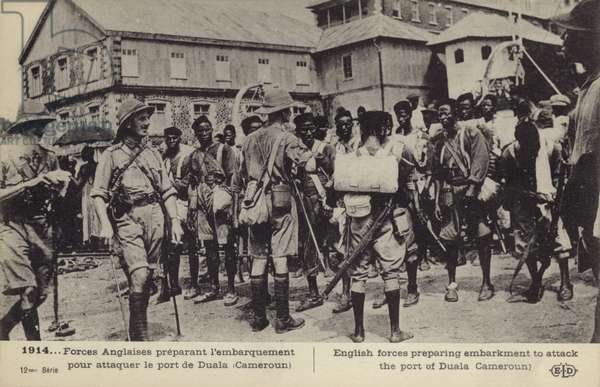 British forces preparing to embark to attack the port of Douala, Cameroon, World War I (b/w photo)