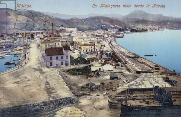District of La Malagueta viewed from the lighthouse, Malaga, Spain (coloured photo)