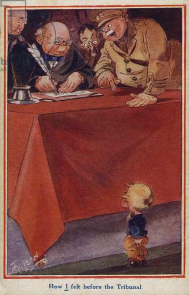 WW1 cartoon propaganda postcard of a conscientious objector (colour litho)