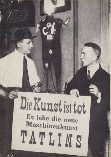 Kasimir Malevich and Vladimir Tatlin at the first International Dada exhibiiton in June 1920 (b/w photo)