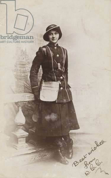 Bus conductress, World War I (b/w photo)