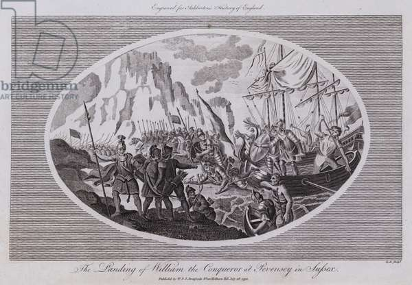 The Landing of William the Conqueror at Pevensey in Sussex (engraving)