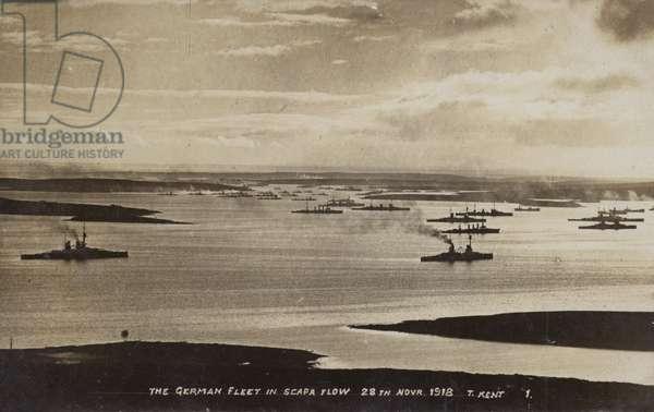 German High Seas Fleet interned at Scapa Flow, Orkney, 28 November 1918 (b/w photo)
