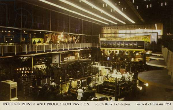 Interior of the Power and Production Pavilion, South Bank Exhibition, Festival of Britain, London, 1951 (coloured photo)