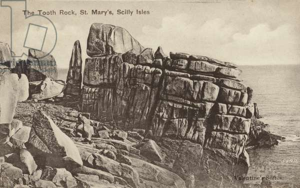 The Tooth Rock, St Mary's, Scilly Isles (b/w photo)