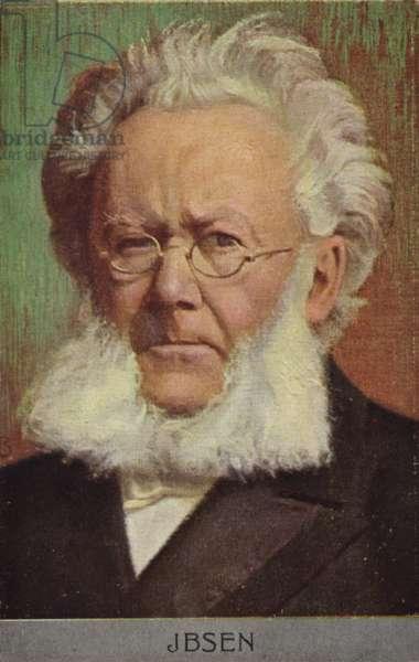 Henrik Ibsen (1828-1906), Norwegian playwright (colour litho)