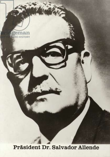 Salvador Allende, Chilean politician and president overthrown by a military coup d'etat in 1973 (b/w photo)
