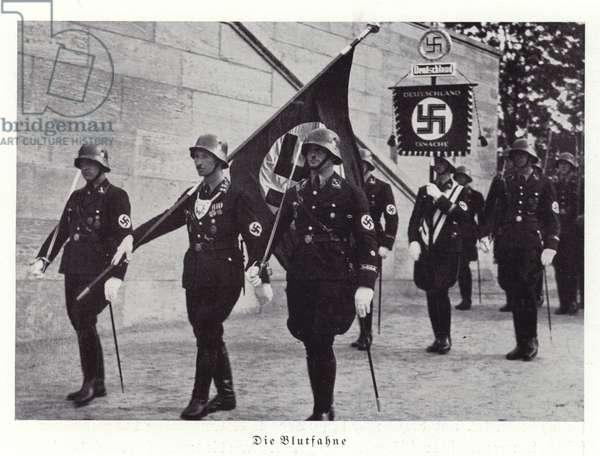 The Blood Flag, Nuremberg Rally, 1936 (b/w photo)