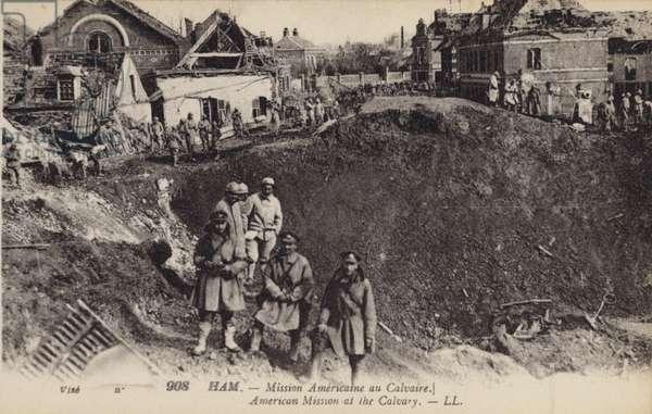 American Mission at the Calvary, Ham, France, World War I (b/w photo)