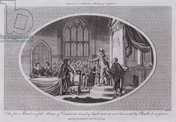 The five Members of the House of Commons accused of high treason and demanded by Charles I in person (engraving)