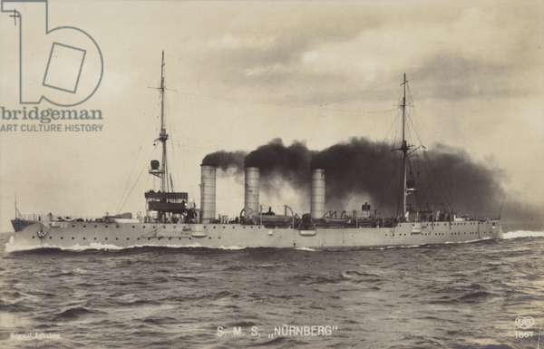 German light cruiser SMS Nurnberg (b/w photo)
