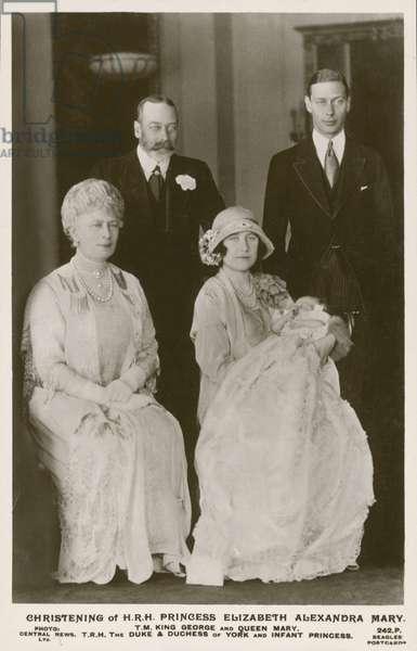 Christening of Princess Elizabeth, 1926 (b/w photo)