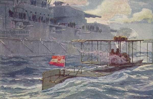 Austro-Hungarian seaplane passing a battleship, World War I, 1914-1918 (colour litho)