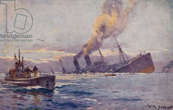 Sinking of an armed enemy troopship in the Mediterranean by a German U-boat, World War I (colour litho)