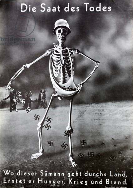 The Seeds of Death, anti-Nazi propaganda depicting a skeleton sowing swastikas, the seeds of hunger, war and fire, 1937 (litho)