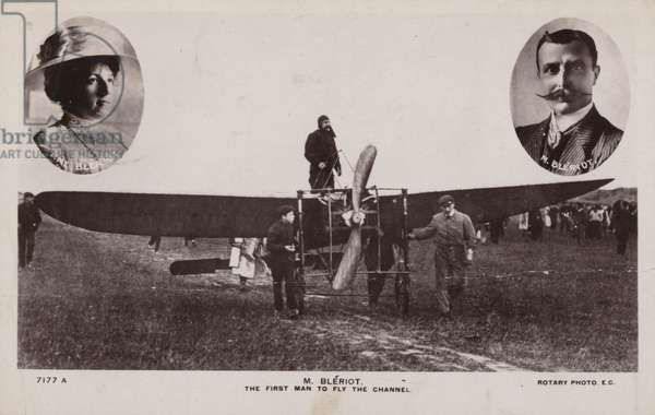 Louis Bleriot; the first man to fly across the English Channel in a heavier than air aircraft (b/w photo)