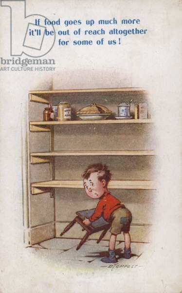 Little boy reaching for top shelf of rationed food (colour litho)