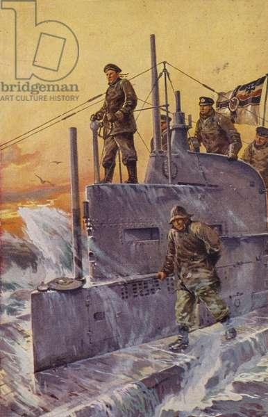 German U-boat, World War I, 1917. (colour litho)