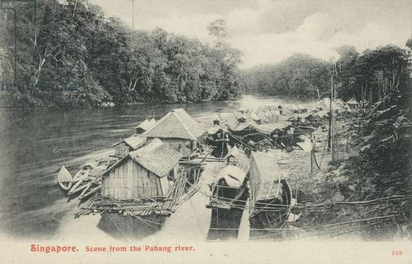 Scene from the Pahang river, Singapore (b/w photo)