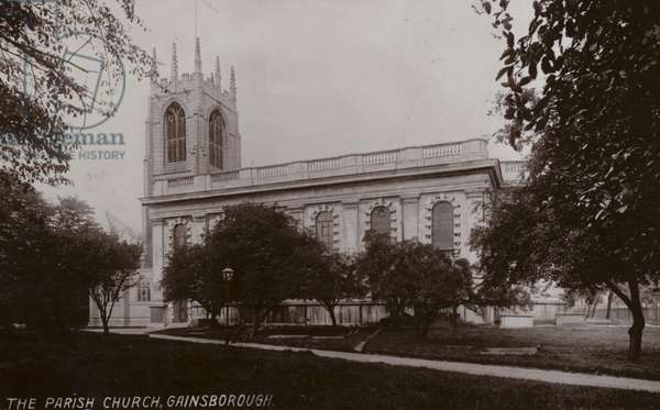 The Parish Church, Gainsborough (b/w photo)