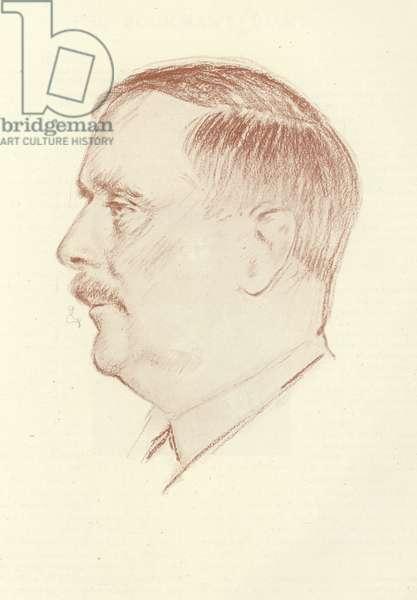 H G Wells, English novelist (litho)