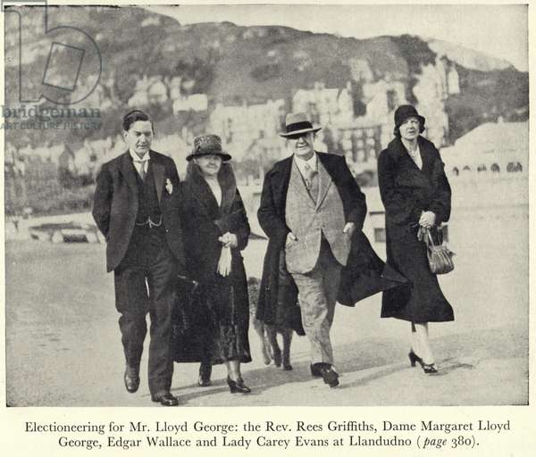 Edgar Wallace electioneering with David Lloyd George (b/w photo)