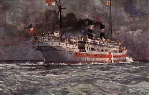 German hospital ship, World War I (colour litho)