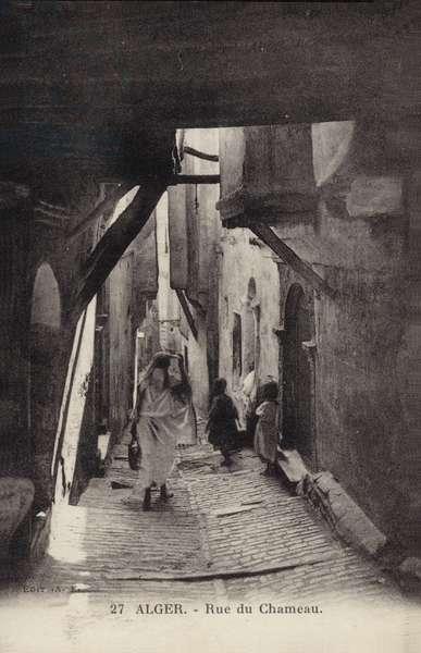 Rue du Chameau, Algiers, Algeria (b/w photo)