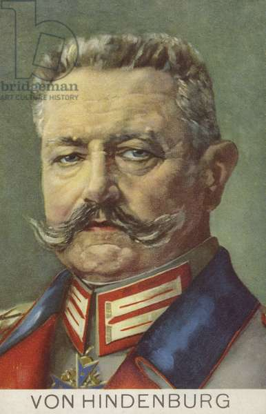 Paul von Hindenburg, German Field Marshal and politician (colour litho)