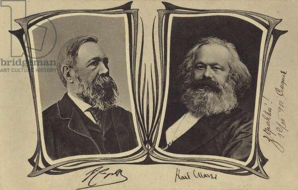 Friedrich Engels and Karl Marx, German Communist philosophers and economists (litho)