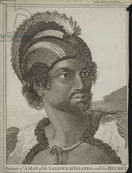 A Man of the Sandwich Islands with his Helmet (engraving)