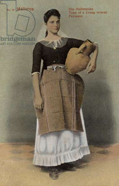 Young peasant woman, Majorca, Spain (coloured photo)