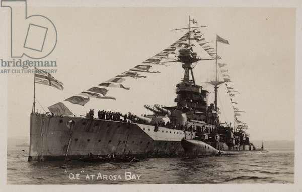 Royal Navy battleship HMS Queen Elizabeth at Arosa Bay, Spain (b/w photo)