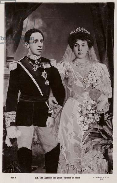 King Alfonso and Queen Victoria (b/w photo)