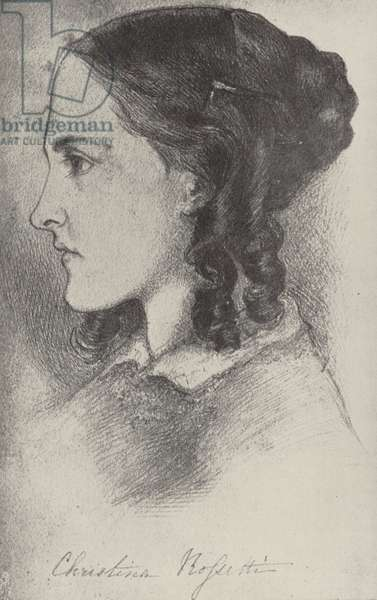 Christina Rossetti, English poet (litho)