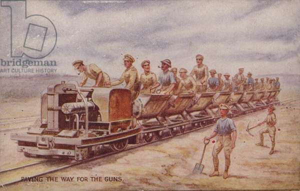 Paving the way for the guns, World War I (colour litho)