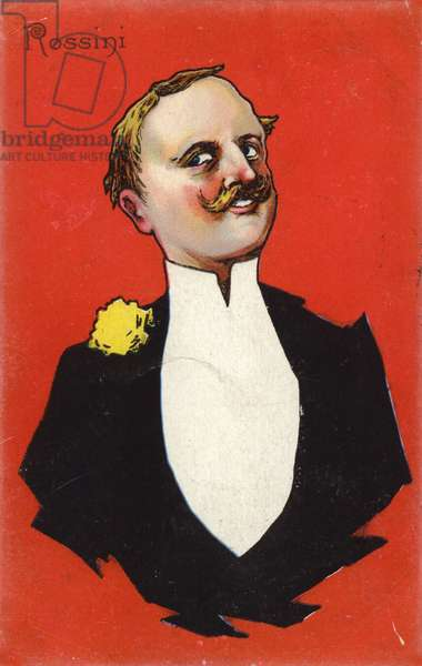 Caricature of Gioachino Rossini (colour litho)
