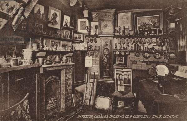 Interior, Charles Dickens' Old Curiosity Shop, London (b/w photo)