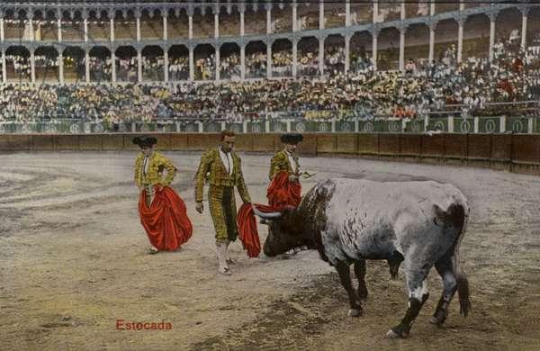 Bullfighting scene, Spain (coloured photo)